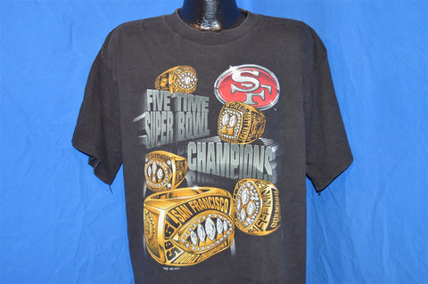 90s San Francisco 49ers Five Time Super Bowl Champions t-shirt Large