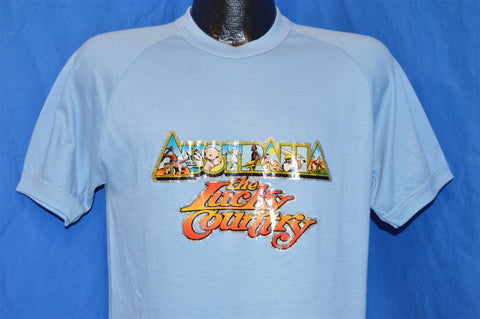 80s Australia the Luck Country Glitter Iron On Raglan Sleeve t-shirt Medium