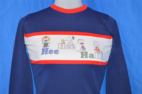 70s Peanuts Charlie Brown Snoopy Long Sleeve Blue and Red Ringer t-shirt Youth Large