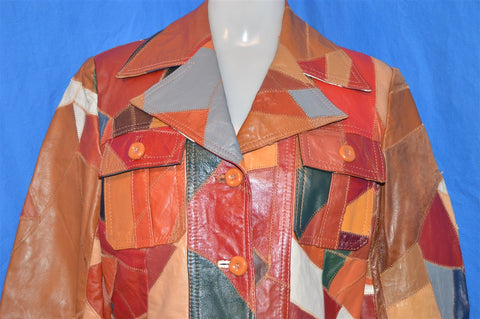 70s Patchwork Leather Jacket Women's Small