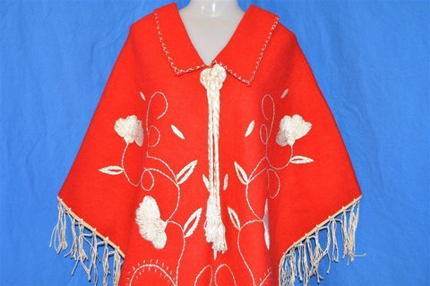 70s Embroidered Wool Women's Shawl Small