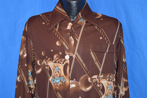 70s Lancer Brown Blue Flowers Geometric Disco Shirt Medium