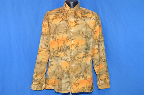 70s Bug A Boo Orange and Grey Leaves Disco Shirt Small