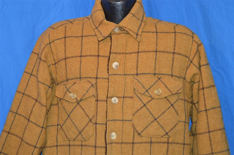 70s Woolrich Brown Plaid Fur Lined Coat Large