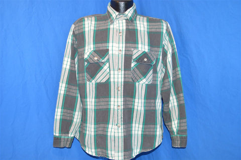 80s Black White Green Plaid Flannel Button Down Shirt Large