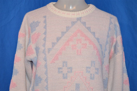 80s Pink Off White Metallic Native Ugly Sweater Women's Small - medium