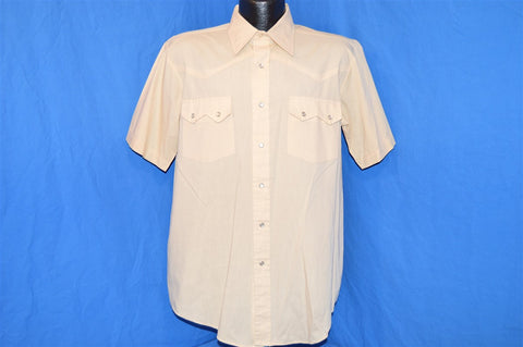 80s Van Cort Beige Short Sleeved Pearl Snap Shirt Large