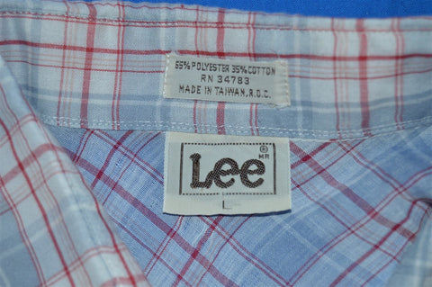 80s Lee White Grey Plaid Pearl Snap Shirt Large