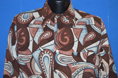70s Brown Tribal All Over Print Button Down Shirt Medium