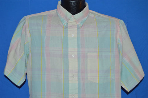 80s Blue Pink Pastel Plaid Button Down Shirt Large