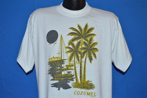90s Cozumel Mexico Sailboat Sunset Palm Trees t-shirt Large