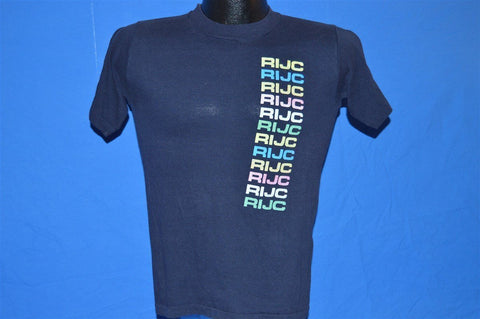 80s RIJC Rainbow Navy Blue t-shirt Small
