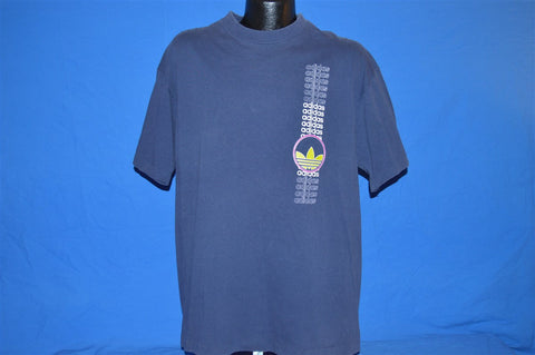 90s Adidas Trefoil Logo Blue Neon Two Sided t-shirt Large