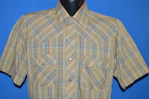 80s Brown Blue Red Plaid Pearl Snap Shirt Small