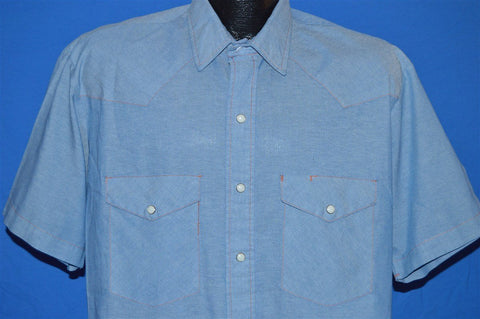 80s Blue Chambray Pearl Snap Shirt Large Tall