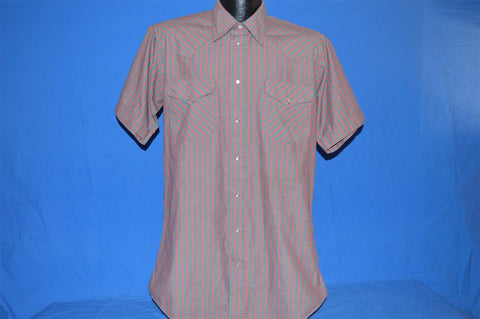 80s Ruddock Grey Pink Striped Pearl Snap Shirt Large Tall