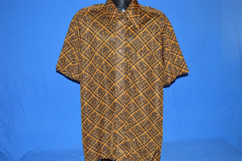 70s Arrow Brown Yellow Scrambler Disco Shirt Extra-Large