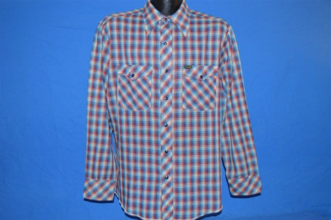 80s Wrangler Red Blue White Plaid Pearl Snap Shirt Large