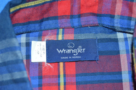 80s Wrangler Red Blue Yellow Plaid Pearl Snap Shirt Large