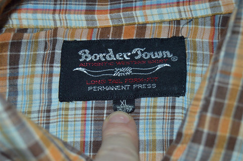 70s Border Town Brown Orange Pearl Snap Shirt Extra Large