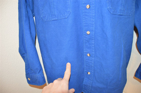 80s Blue Flannel Hunting Button Down Shirt Large