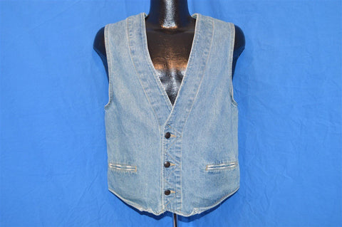 90s Bugle Boy Denim Patterned Vest Small