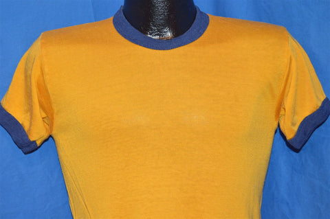 50s Russell Southern Yellow Blue Rayon Ringer t-shirt Small