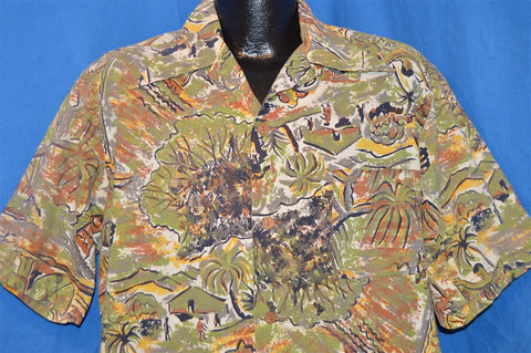 40s Surfing Hawaiian Island Aloha Shirt Extra Large