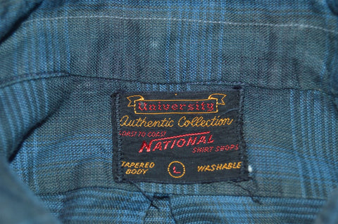 50s National Blue Shadow Plaid Shirt Large