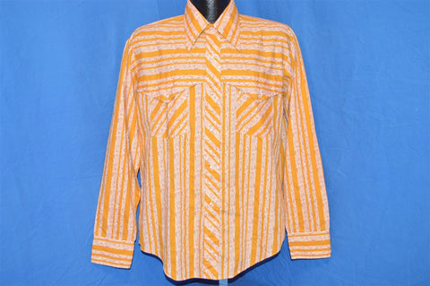 70s White Yellow Striped Flowered Western Shirt Large