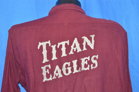 40s Titan Eagles Chain Stitch Red Sport Jax Shirt Extra Large