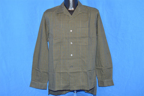 50s McGregor Green Blue Plaid Deadstock Shirt Medium