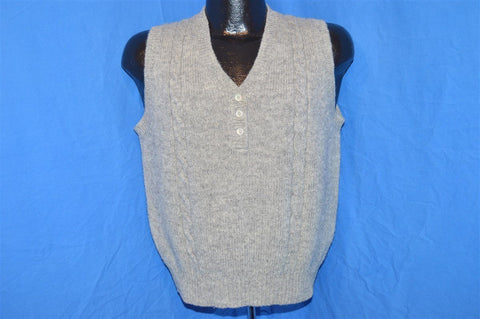 80s LL Bean Gray Shetland Wool Cable Knit Sweater Vest Women's Medium - Large