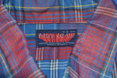 80s Red Blue Plaid Button Down Shirt Large