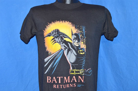 90s NWT Batman Returns Movie Batarang Black Neon t-shirt Youth Extra-Large