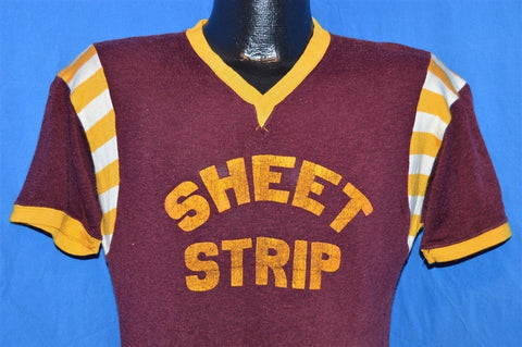 60s Sheet Strip Maroon Yellow Jersey t-shirt Small
