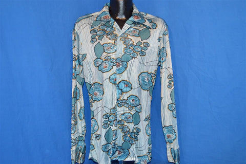 70s Montgomery Ward Blue Flowered Disco Shirt Large