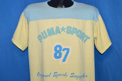 80s Puma Sport Blue Yellow Jersey t-shirt Large