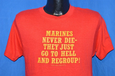 80s Marines Never Die Just Regroup USMC t-shirt Small
