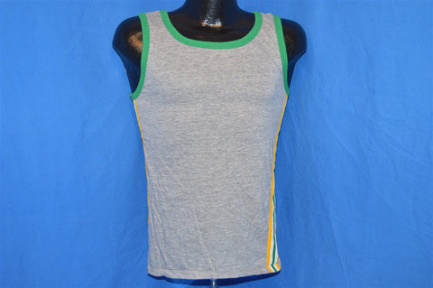 80s Gray Green Trimmed Striped Tank Top t-shirt Small