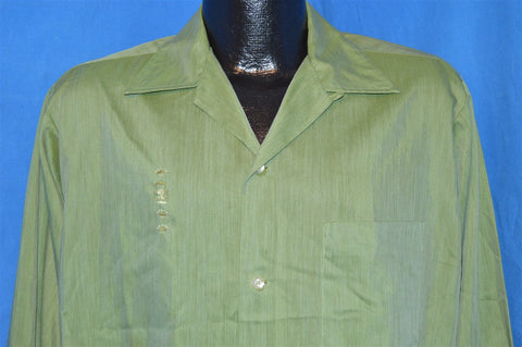 60s Penney's Towncraft Green Loop Collar Shirt Medium