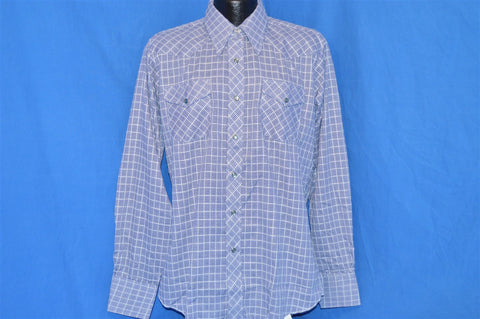 70s H Bar C Blue Plaid Pearl Snap Shirt Large