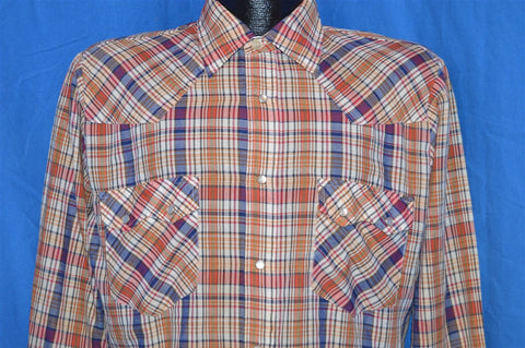 80s Stage II Red Blue Plaid Pearl Snap Shirt Medium
