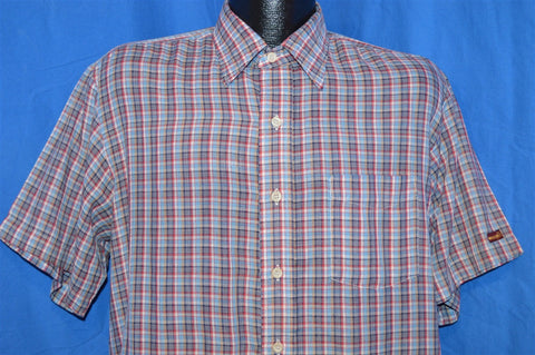 80s Blue Red Plaid Button Down Shirt Large