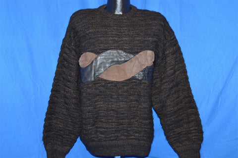90s Saxony Brown Black Suede Leather Elbow Patch Hip Hip Sweater Medium