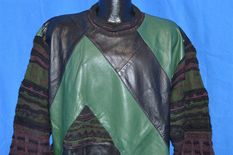90s Saxony Collection Black Green Leather Patch Hip Hop Sweater Large