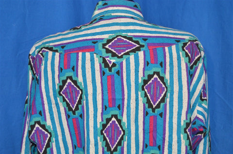 90s Blue Purple Striped Western Tribal Button Down Shirt XXL