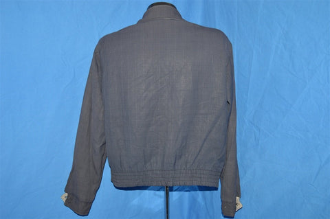 40s Reversible Gabardine Gingham Blue Jacket Medium