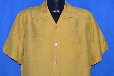 60s Hilly Chasin's Yellow Rockabilly Shirt Large