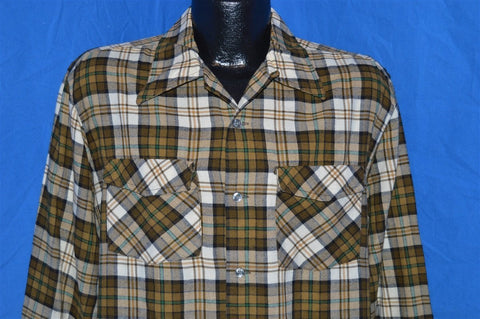 60s Loop Collar Button Down Plaid Wool shirt Large